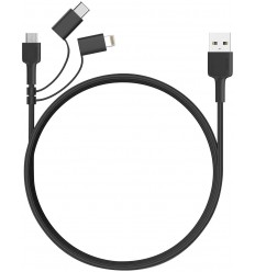 AUKEY CB-BAL5 BRAIDED USB TO LIGHTNING / TYPE-C / MICRO USB CABLE ΜΑΥΡΟ 1.2M
