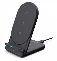 AUKEY LC-A2B AIRCORE SERIES 2-IN-1WIRELESS CHARGING STAND BLACK